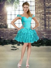 Modest Sleeveless Organza Mini Length Lace Up Dress for Prom in Aqua Blue with Beading and Ruffles