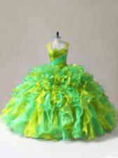 Beading and Ruffles Sweet 16 Dresses Multi-color Zipper Sleeveless Floor Length