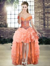 Fancy Off The Shoulder Sleeveless Lace Up Prom Dress Orange Organza