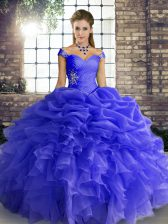 Beading and Ruffles and Pick Ups Sweet 16 Dresses Blue Lace Up Sleeveless Floor Length