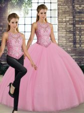 Luxury Pink Sweet 16 Quinceanera Dress Military Ball and Sweet 16 and Quinceanera with Embroidery Scoop Sleeveless Lace Up