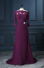 Glittering Purple Column/Sheath Chiffon Scalloped Sleeveless Beading and Lace Zipper Prom Dress Brush Train