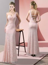 Floor Length Column/Sheath Sleeveless Baby Pink Prom Party Dress Criss Cross