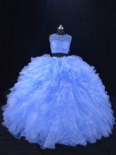 Hot Sale Blue Two Pieces Scoop Sleeveless Organza Floor Length Zipper Beading and Ruffles 15 Quinceanera Dress