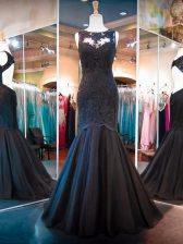Black Sleeveless Floor Length Lace Backless Homecoming Dress