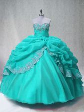 Elegant Floor Length Aqua Blue Quinceanera Gowns Sweetheart Sleeveless Lace Up