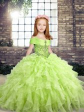Floor Length Ball Gowns Sleeveless Yellow Green Pageant Gowns For Girls Lace Up
