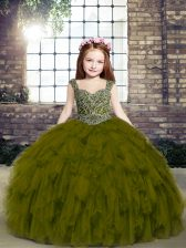 Affordable Straps Sleeveless Tulle Child Pageant Dress Beading and Ruffles Lace Up