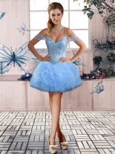 Beauteous Off The Shoulder Sleeveless Tulle Homecoming Dress Beading and Ruffles Lace Up