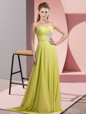 Yellow Green Prom Party Dress Prom and Party and Military Ball with Beading Sweetheart Sleeveless Lace Up