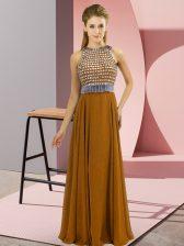 Brown Empire Beading Prom Party Dress Side Zipper Chiffon Sleeveless Floor Length