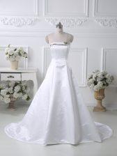 Flirting White Satin Lace Up Homecoming Dress Sleeveless Court Train Ruching