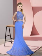 Satin High-neck Sleeveless Sweep Train Zipper Beading and Appliques Homecoming Dress in Lavender
