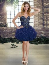 Fitting Tulle Sleeveless Mini Length Prom Dresses and Beading and Ruffles