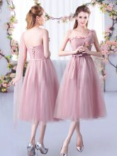 Tea Length Pink Damas Dress Tulle Sleeveless Appliques and Belt