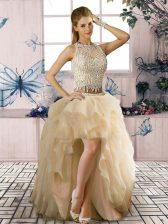 Sumptuous Champagne Clasp Handle Scoop Beading and Ruffles Prom Gown Tulle Sleeveless