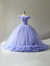 Free and Easy Tulle Sleeveless Ball Gown Prom Dress Court Train and Hand Made Flower
