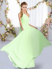 Amazing Yellow Green One Shoulder Neckline Ruching Vestidos de Damas Sleeveless Lace Up