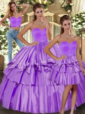 Fashionable Lilac Three Pieces Taffeta Sweetheart Sleeveless Ruffled Layers Floor Length Backless Sweet 16 Dress