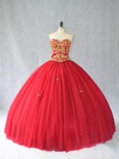 Red Tulle Lace Up Sweetheart Sleeveless Quince Ball Gowns Brush Train Beading