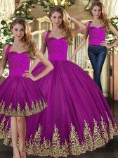 Embroidery 15th Birthday Dress Fuchsia Lace Up Sleeveless Floor Length