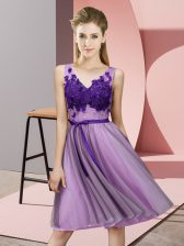 On Sale Lavender Tulle Lace Up V-neck Sleeveless Knee Length Court Dresses for Sweet 16 Appliques