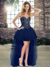 Edgy Sleeveless High Low Beading Lace Up with Navy Blue