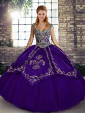 Deluxe Purple Sleeveless Beading and Embroidery Floor Length Sweet 16 Dresses