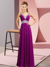 Colorful V-neck Sleeveless Evening Dress Floor Length Beading Purple Chiffon