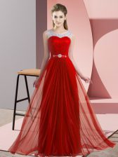 Smart Red Chiffon Lace Up Court Dresses for Sweet 16 Sleeveless Floor Length Beading