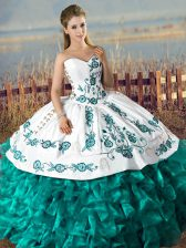 Fabulous Sweetheart Sleeveless Sweet 16 Dress Floor Length Embroidery and Ruffles Turquoise Satin and Organza