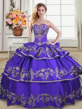 Discount Sweetheart Sleeveless Satin and Organza Ball Gown Prom Dress Embroidery and Ruffled Layers Lace Up