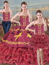 Burgundy Sleeveless Embroidery and Ruffles Lace Up Sweet 16 Quinceanera Dress
