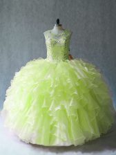 Yellow Green Organza Lace Up Quinceanera Dress Sleeveless Floor Length Beading and Ruffles
