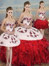 Lovely White And Red Ball Gowns Sweetheart Sleeveless Organza Floor Length Lace Up Embroidery and Ruffles and Bowknot Sweet 16 Quinceanera Dress