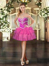 Nice Sleeveless Lace Up Mini Length Beading and Ruffled Layers Homecoming Dress