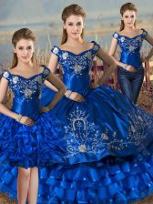 Hot Selling Floor Length Royal Blue Quinceanera Gown Off The Shoulder Sleeveless Lace Up