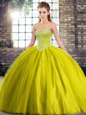 Lace Up Quinceanera Dress Olive Green for Military Ball and Sweet 16 and Quinceanera with Beading Brush Train