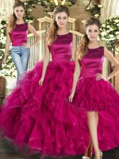 Fabulous Fuchsia Sleeveless Ruffles Floor Length Sweet 16 Quinceanera Dress