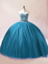 Teal Sleeveless Beading Floor Length Quinceanera Dresses