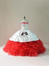 White And Red Quinceanera Dress Sweet 16 and Quinceanera with Embroidery and Ruffles Strapless Sleeveless Brush Train Lace Up