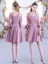 Cute Pink A-line Ruching Court Dresses for Sweet 16 Zipper Chiffon Half Sleeves Mini Length