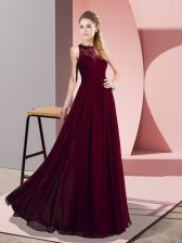 Floor Length Zipper Homecoming Dress Burgundy for Prom and Party with Lace