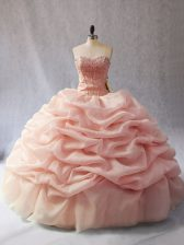 Ball Gowns Sweet 16 Dresses Peach Sweetheart Organza Sleeveless Floor Length Lace Up