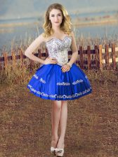 Ball Gowns Evening Dress Blue And White Sweetheart Satin Sleeveless Mini Length Lace Up