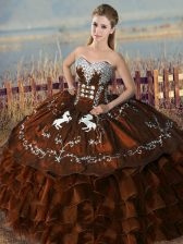 Colorful Brown Satin and Organza Lace Up Sweetheart Sleeveless Floor Length Sweet 16 Quinceanera Dress Embroidery and Ruffles