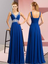 Exceptional Sleeveless Lace Up Floor Length Beading Prom Gown