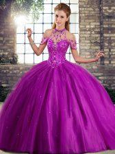 Purple 15th Birthday Dress Halter Top Sleeveless Brush Train Lace Up