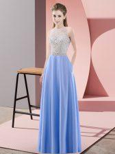 Sophisticated Blue Empire Scoop Sleeveless Satin Floor Length Backless Beading Homecoming Dress