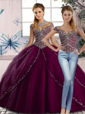 Delicate Brush Train Ball Gowns Quinceanera Gown Purple Sweetheart Tulle Cap Sleeves Lace Up